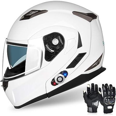Motorcycle Bluetooth Helmets,FreedConn Flip up Dual Visors Full Face Helmet,Built-in Integrated Intercom Communication System(Range 500M,2-3Riders Pairing,FM radio,Waterproof,L,White)