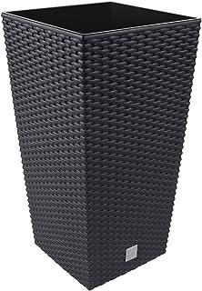 Macetero de ratán Prosperplast 26.6 L Sembradora de antracita Interior exterior con caja interior resistente a la intemperie, negro, 26.5 x 26.5 x 50 cm, DRTS265-S433