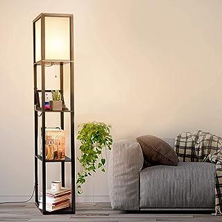 Albrillo Lampadaire rétro avec étagère en bois