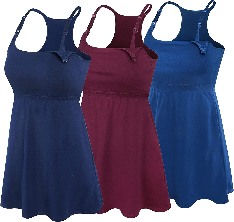SUIEK Women's Nursing Top Tank Cami Maternity Shirt Sleep Bra for Pregnancy