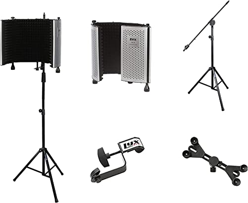new arrival LyxPro VRI 10 Portable online sale Acoustic Isolation Instrument Shield, Sound Absorbing Panel with Heavy Duty Studio Overhead Boom Stand with Rolling Coasters & Adjustable Universal Smartphone Tablet discount Holder online sale