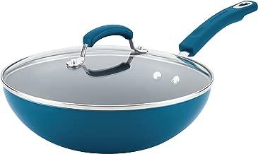 Rachael Ray Aluminium Nonstick Stir Fry Pan with Glass Lid, 28cm , Marine Blue Gradient Hard Enamel