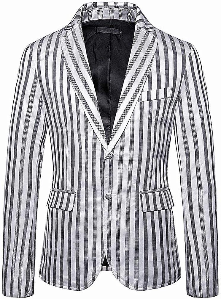 HuanHaoYu Hombre Blazer Abrigo Elegante Moda Festiva Slim Fit Casual Único Americana Rayas Verticales Chaqueta De Traje