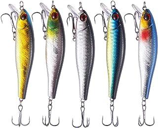 TUXIBIN Juego de 5 señuelos de pesca para agua de Topwater de 8,6 cm, 9,3 g, anzuelo giratorio para pesca de agua dulce y ...