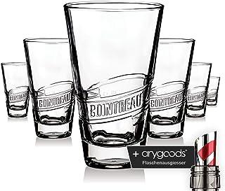 6 x Cointreau Glas Gläser Likör Relief Design Longdrink Cocktail Gastro NEU  anygoods Flaschenausgiesser