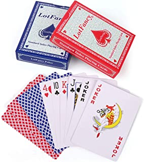 LotFancy Playing Cards, 2 Decks of Cards (Blue and Red), Poker Size Standard Index, for Blackjack, Euchre, Pinochle Card Games