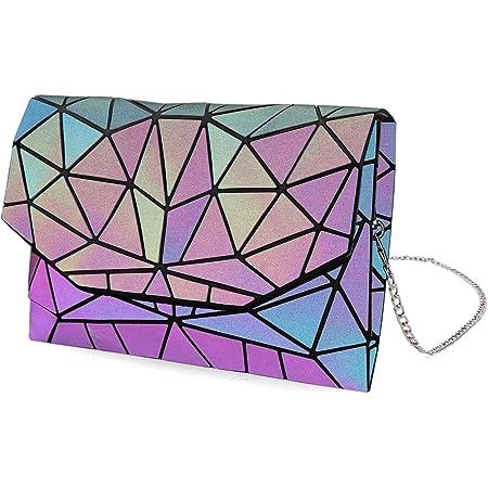 Tikea Geometrische Handtasche mit Kettenriemen - Gitter Kette Geldbörse Mode Crossbody Kette Kupplung, Reißverschluss oder Umschlag Geldbörse, leuchtend oder Kork