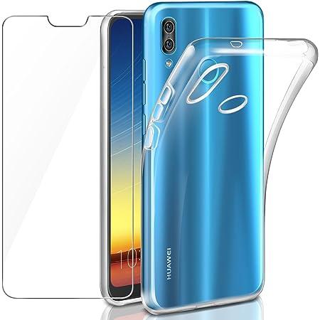 Leathlux Coque Compatible avec Huawei P20 Lite Transparent avec Verre trempé écran Protecteur, Souple Silicone Étui Protection Bumper Housse TPU ...