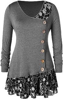 Aniywn Womens Long Sleeve V-Neck T-Shirt Slim Flounced Hem Buttons Plus Size Tops Blouse