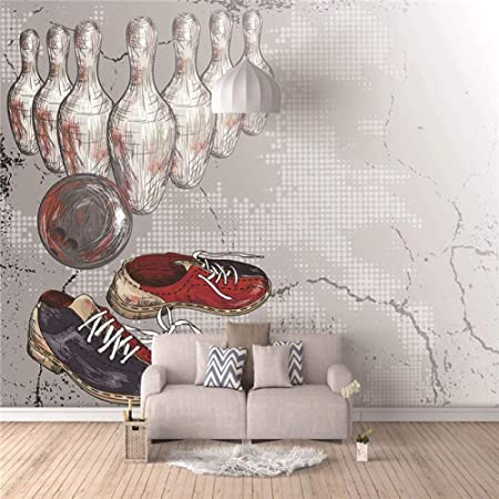 YTJBEI Photo Wallpaper Wall Mural -Shoes Bowling Non Woven Wall Mural Adults and Children Teen´s Room Office for Bedrooms 3D Mural Wall Decoration 300 X 210 cm