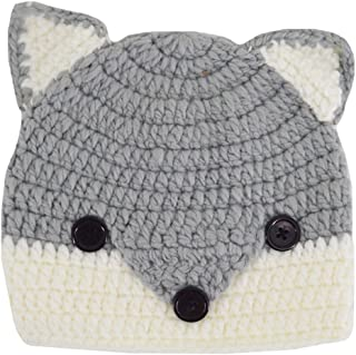 Fox Shape Design Knitted Hat Crochet Hooded Cap Cute Warm Unisex Baby Kids Costume Photography Props Beanies