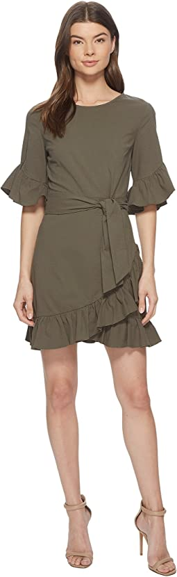 1.STATE - Asymmetrical Ruffled Edge Wrap Dress