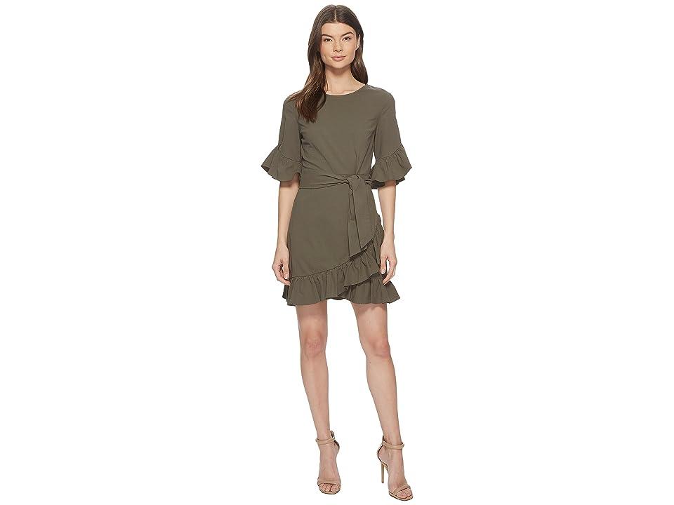 Image of 1.STATE Asymmetrical Ruffled Edge Wrap Dress (Olive Tree) Women's Dress