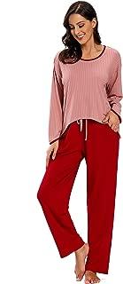 SHEKINI Women's Pajamas Set Long Sleeve Sleepwear Soft Sleepwear Set Lounge Nightgowns