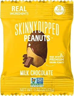 SKINNYDIPPED Milk Chocolate Covered Peanuts, 0.46 Ounce Mini Bag, 24 Count