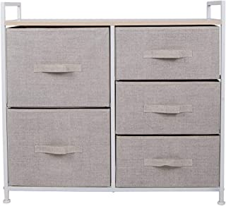 Polar Aurora 5 Drawers Dresser Wide Dresser Storage Tower with Handrail for Multiple Rooms Storage Organizer Unit nightstand Bedside Table End Table (Linen/Tan)