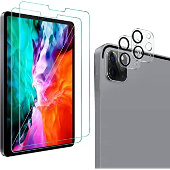 QHOHQ 2 Pack Screen Protector for iPad Pro 11 2020 (2nd Gen) with 2 Pack Camera Lens Protector,Tempered Glass Film,9H Hardness- HD -Anti-Fingerprint-Anti-Scratch,Compatible with Face ID & Apple Pencil