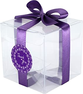 Gechtas 20Pcs PET Crystal Clear Cube Gift Boxes, 3