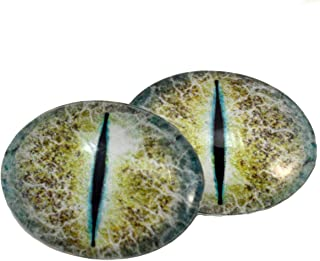 Yellow and Blue Crackle Dragon Oval Glass Eyes Fantasy Taxidermy Art Doll Making, Fantasy Sculptures or Jewelry Crafts Set of 2 (30mm x 40mm)