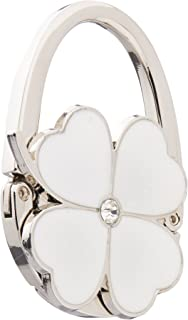 Four Leaf Clover Design Foldable Handbag Hanger Folding Purse Table Hook Holder(White)