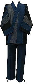 【日本製】作務衣 厚地変り刺子かつお縞
