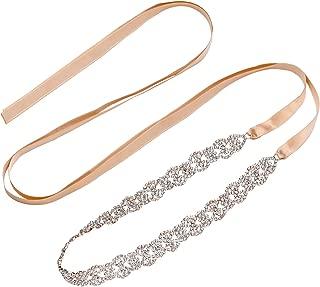 LXKBD Crystal Wedding Belt Satin Sash Rhinestone Bridal Dress Accessories Belly Chain for Bride Bridesmaid Party