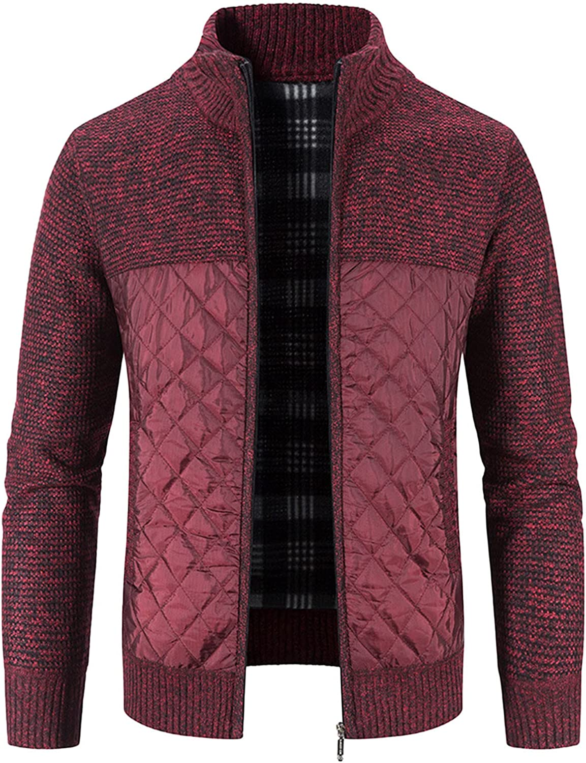 Men's Winter Cotton-Padded Cardigan Coat Jacket Knitted with Vertical Collar Coat Oversized 2021