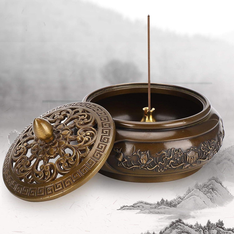 Agatige Copper Censer Incense Burner Bowl with Lid, Vintage Inse