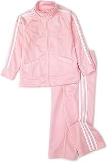 adidas Baby Girls' Tricot Zip Jacket and Pant Set Light Pink Basic 12 Months