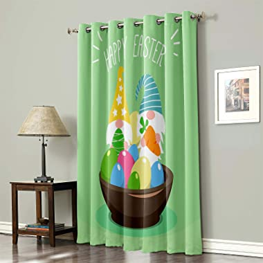 Blackout Window Curtain Happy Easter Day Cartoon Cute Gnomes with Eggs, Thermal Insulated Window Drapes Spring Season Room Da