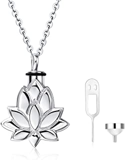 WINNICACA S925 Sterling Silver Urn Necklaces for Ashes Forever In My Heart Cremation Urns Keepsake Necklace Jewelry w/Funnel Filler
