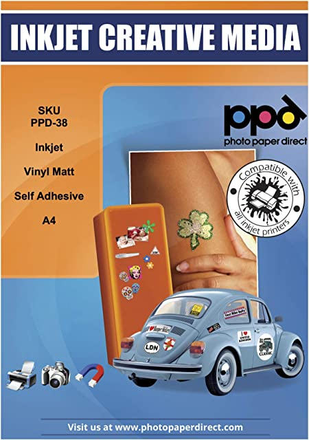PPD Pegatinas de vinilo con acabado mate para impresión de inyección de tinta A4 x 20 hojas PPD-38-20