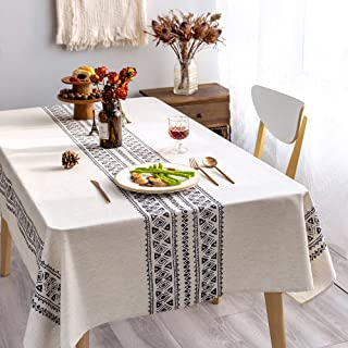 Nappe rustique en tissu de lin décoratif 140x260cm Rectangle imprimé motif géométrie conception non-décoloration lavable c...