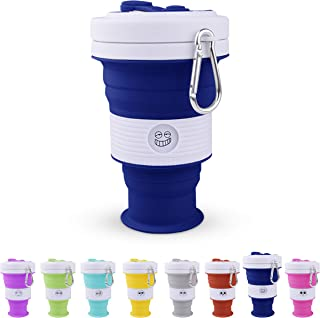NEW Silicone Collapsible Coffee Cup, 18oz for Camping, Car and Office (Deep Blue, 550ml)