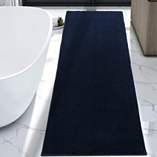 Lifewit Bath Runner Rug Chenille Area Mat Rugs for Bathroom Kitchen Entryway Bedroom Machine Washable Water Absorbent with Non-Slip Rubber Collection Shag Rug, 2'2 x 5'11, Navy Blue