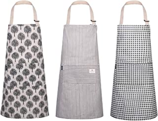 umorismo 3 Pack Women Aprons with Pockets Cotton Linen Cooking Apron Adjustable Kitchen Apron Soft Chef Apron for Kitchen ...
