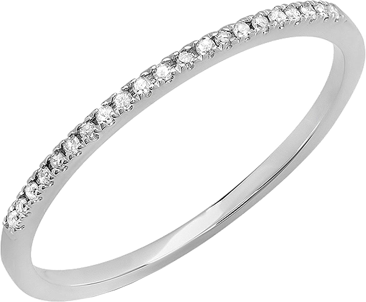 Dazzlingrock Collection 0.08 Carat (ctw) Round White Diamond Ladies Dainty Anniversary Wedding Band Stackable Ring, 14K White Gold, Size 5