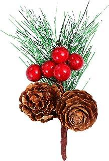 DOITOOL 20本の赤いベリーの茎松の枝常緑の人工松ぼっくり針ピック冬の休日花のピックDIYクリスマスクラフト用のヒイラギの茎(緑)