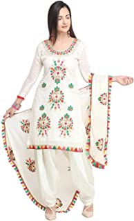 VintFlea Womens's Cotton Unstitched Salwar Suit, Indian Punjabi Style Fashion, Patiyala or Bollywood Design Look, Daily or Party Wear, White, Free Size (Free Express Shipping)