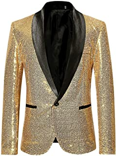 Men's Suit Slim Men Sequined Fit Blazer Sequin Coat Comfortable Sizes for Business Wedding Party Business Casual One Butto...