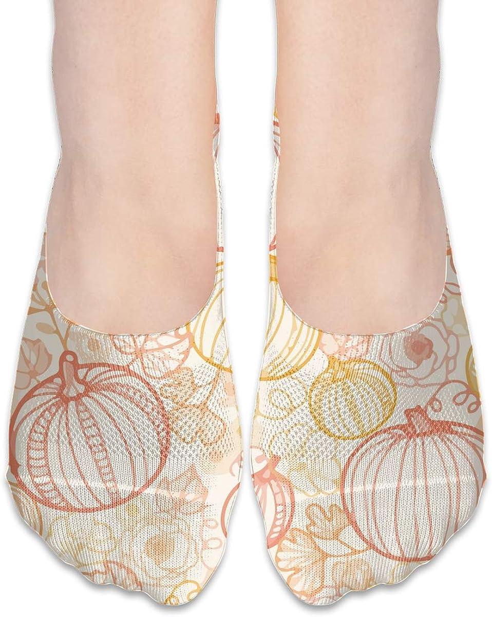 No Show Socks Women Men For Thanksgiving Art Pumpkins Flats Cotton Ultra Low Cut Liner Socks Non Slip