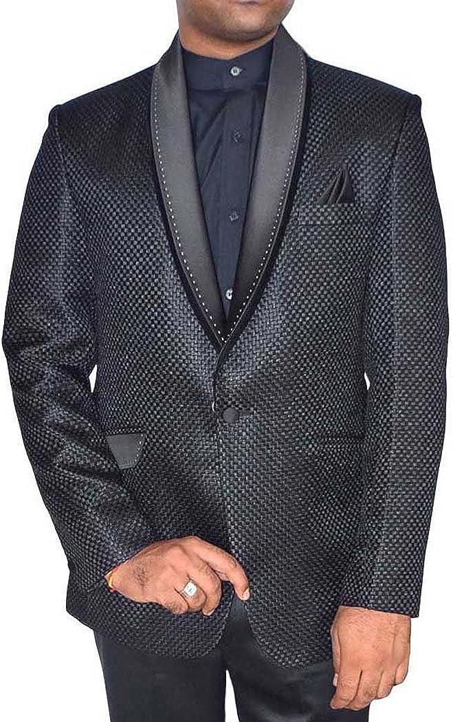 INMONARCH Mens Black Jute Tuxedo Suit Lovely 1 Button 4 Pc TX979