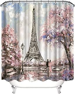 VividHome 72 x 72 Inch Waterproof Paris Eiffel Tower Bathroom Shower Curtain Romantic Lover Pink Flower Polyester Fabric Bathroom Curtain Ideas (Pink)