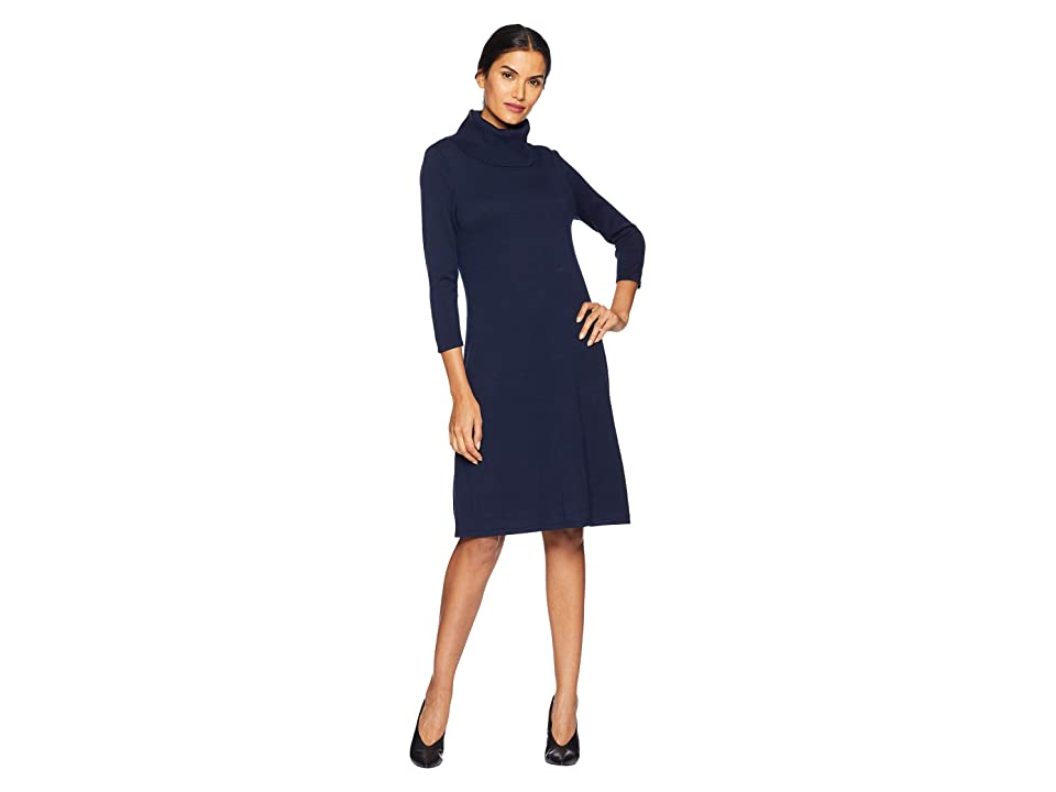 Nine West Cowl Neck Fit Flare Knit Dress (Indigo) Women