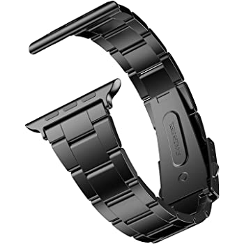 JETech Replacement Band Strap for Apple Watch 42mm and 44mm, Stainless Steel, Black