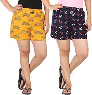 JOVEN Women's Yellow and Navy Boxer Pack of 2