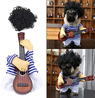 Filfeel Pet Dress, Dog Cat Costume Guitar Player Puppy Funny Halloween Christmas Party with Wig