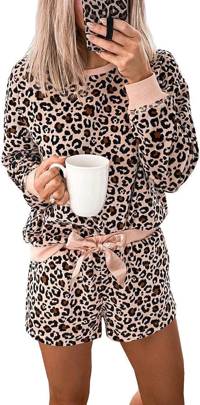 ADEWEL Womens Short Pajamas Set Leopard Print Long Sleeve Sleepwear 2 Piece Outfits PJ Set Nightwear Loungewear