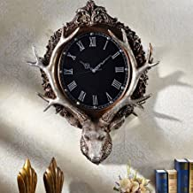 European Retro Atmosphere Art Clock Deer Head Wall Clock Creative Light Luxury Living Room Home Mute Clock Resin Shell Gla...