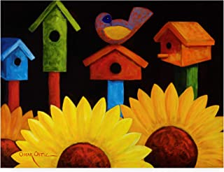 Trademark Fine Art Midnight Garden Birdhouse by Oscar Ortiz, 35x47